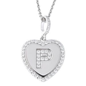 Letter P Initial Heart CZ Pendant Sterling Silver